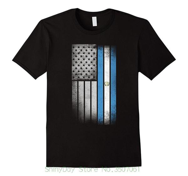 Camiseta Unisex Mais Tamanho E Cores Bandeira Americana Guatemalteca - EUA Guatemala Bandeira Camiseta