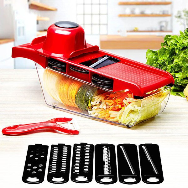 10pcs /Set Creative Nicer Slicer Vegetable Cutter Stainless Steel Blade Mandoline Manual Slicer Potato Peeler Carrot Grater Dicer
