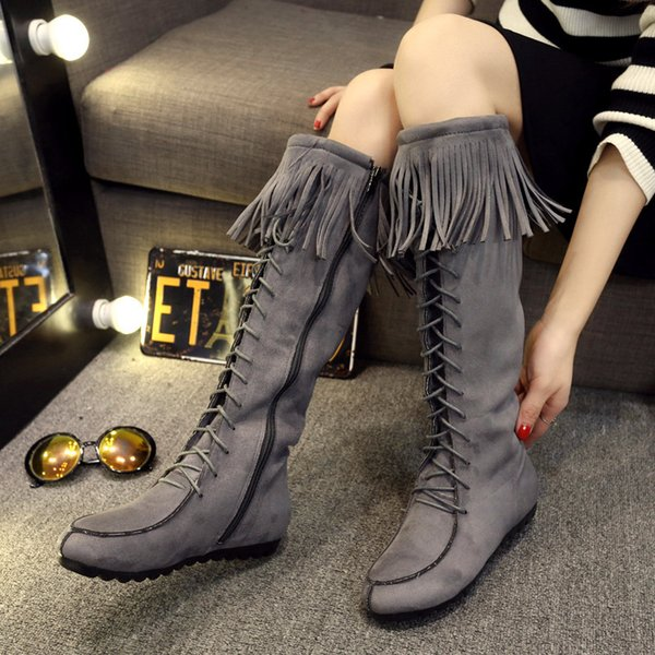 Winter Fashion Suede Tassel Over-The-Knee Boots Shoes Women Thigh High Boots Round Toe Brown Black Booties Lace Up Ladies