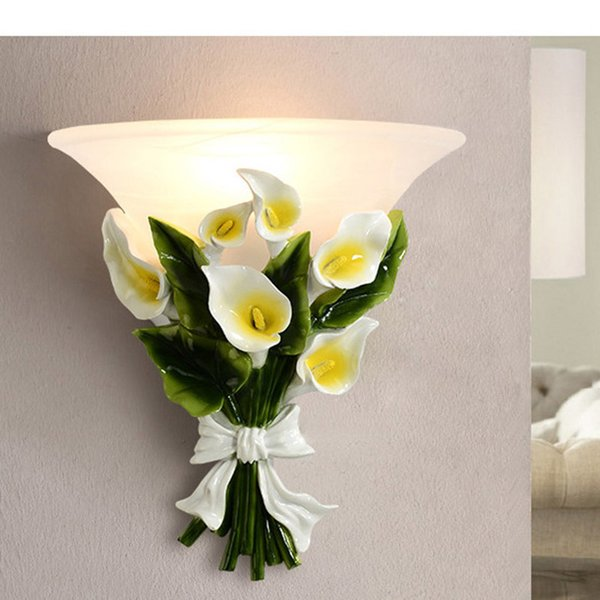 Modern LED Flower Wall Lamp Glass Home Lighting Fixture Resin Mirror front Wall Sconce For Bedroom Parlor Corridor lamp G731