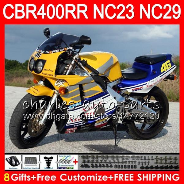 Kit For HONDA CBR400 RR NC23 CBR400RR Blue yellow 94 95 96 97 98 99 80HM.53 CBR 400 RR NC29 CBR 400RR 1994 1995 1996 1997 1998 1999 Fairing