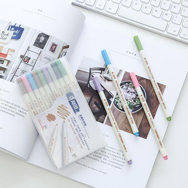 10 Pieces of DIY Metal Pen Stationery Write Fluent Wine Glass Metal Marker Pen Universal Mark Color