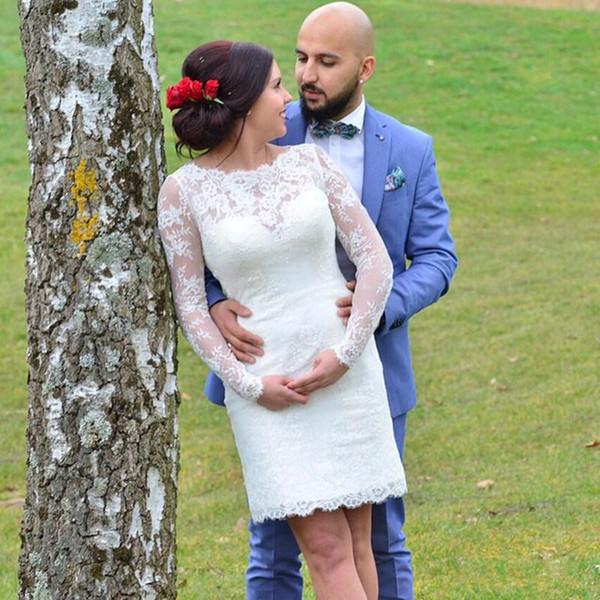 Sheath Lace Short Wedding Dresses 2019 New Design Hot Selling Custom Made Scoop Neckline Mini Long Sleeve Vintage Bridal Wedding Gowns W75