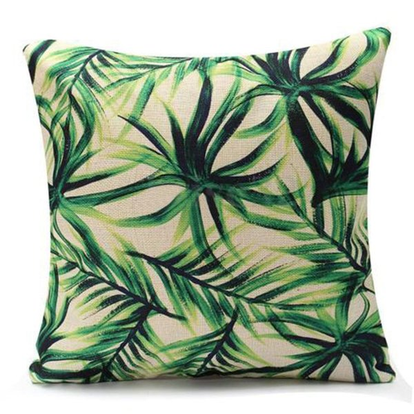 HOT SALE Green Leaf flax Throw Pillow Case Pillow Cover Home (Palm)