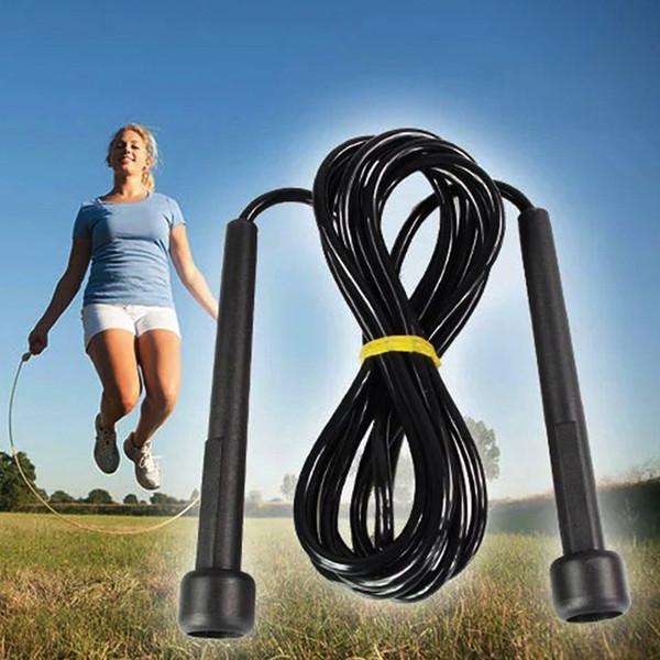 Haute Qualité Unisexe Sports Fitness Exercice Simple Skip Corde Noir Réglable Longueur Jump Rope Skipping Personnel