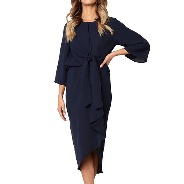 Women Party Dress Bow Waist Irregular Hem Elegant Dress O-Neck Three Quarter Length Sleeve Solid Dresses #L