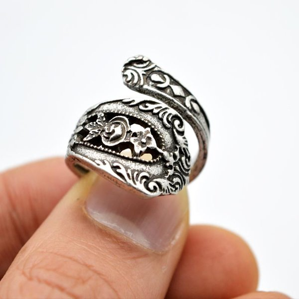 1pc Vintage Spoon Flower Adjustable Ring Anniversary Rings For Women Bohemia Spoon Rings For Best Gift Jewelry