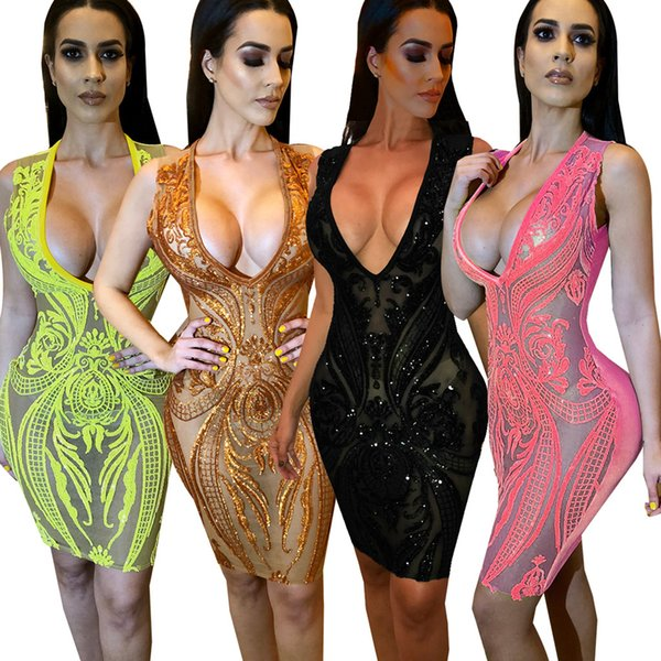free shipping shining sequin embroidery transparent dress summer sex lady clubwear sequin dress black brown yellow pink colors sexy dress