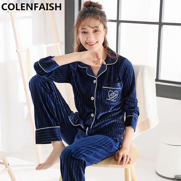 Winter Warm Pajamas Set Women Sleep Set Deep Gold Velvet Pajamas Sleepwear Long Sleeves Homewear 2 Peice Nightwear