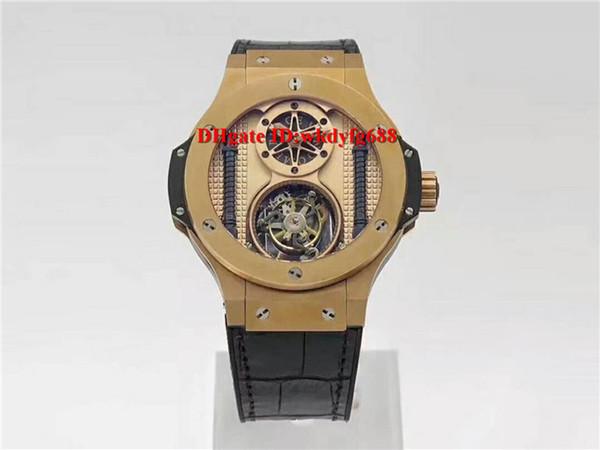 Luxury BigBang King Power Real Tourbillon Hand-winding Swiss mens watch 18K Gold plated Sapphire Crystal Black calfskin strap
