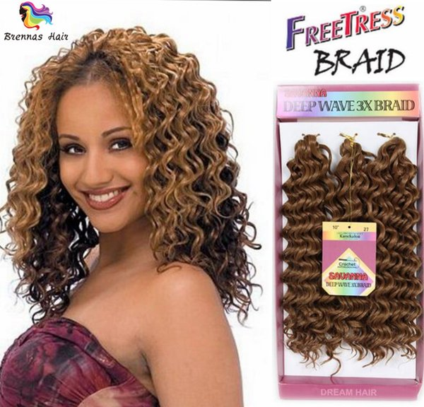 New style Freetress Deep Wave Twist Crochet Braiding Hair Ombre Color Curly Synthetic Hair Extensions 3x Crochet Jerry Curl Hair Wave Twist