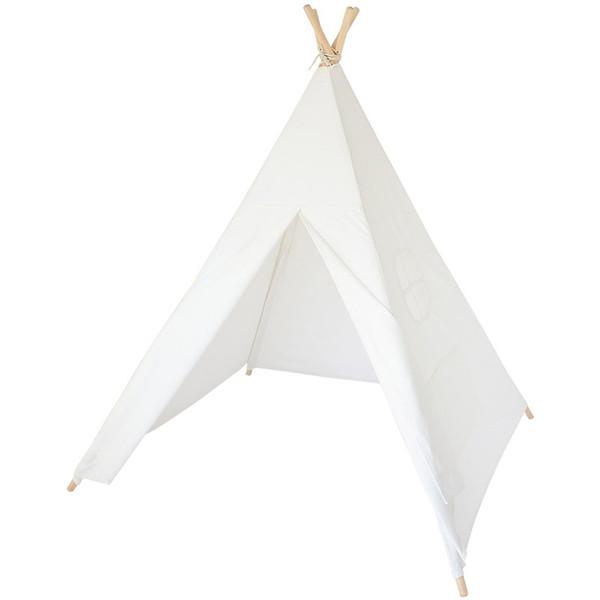 Cuatro postes de madera Niños Teepees Niños Tienda india Algodón Lona Teepee Playhouse blanco para Habitación de bebé Tipi