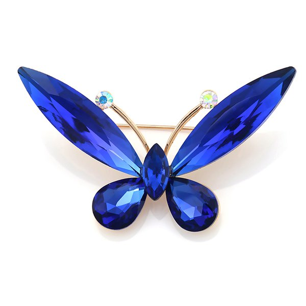 High Quality Assorted Colors Glass Crystal Butterfly Red / Blue / Coffee Brooches for Women