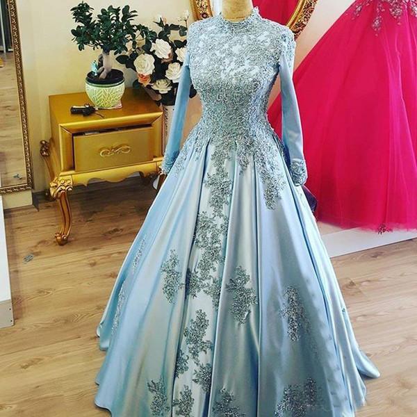 Мусульманские кружева свадебные платья высокой шеи страна плюс размер бальное платье с длинными рукавами кружева аппликация свадебные платья vestido де новия