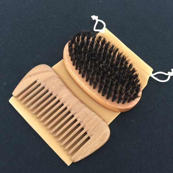 Hair Brush and Comb Kit Wholesale Supplier Wide Tooth Wooden Comb Boar Bristle Hair BrushSalon HairCut Fade Comb over Hair Beard Style Xmas