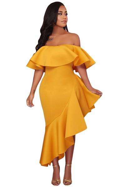 2018 Off Shoulder Party Evening Dress Sexy Ladies Yellow Short Sleeve Asymmetric Elegant Ruffle Dress Vestidos Verano Dresses