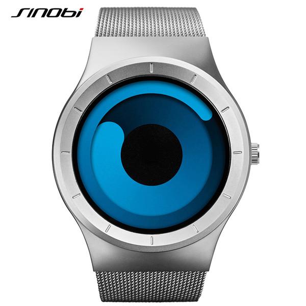 SINOBI Mens Watches Top Brand Luxury 2016 Stainless Steel Mesh Strap Sport Watches for Men Waterproof Quartz-Watch Montre Homme