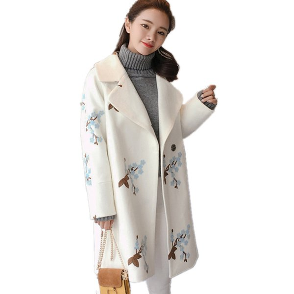 Woolen Embroidery Sweet Single-button Loose Coat Jacket Women Wool & Blends Fashion Casual Autumn Womens Winter Jackets TT3419