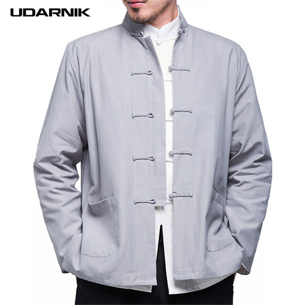 Traditional Chinese Style Men Tang Coat 8 Colors Solid Mandarin Collar Long Sleeve Casual Undershirt Kung Fu Jacket 201-930
