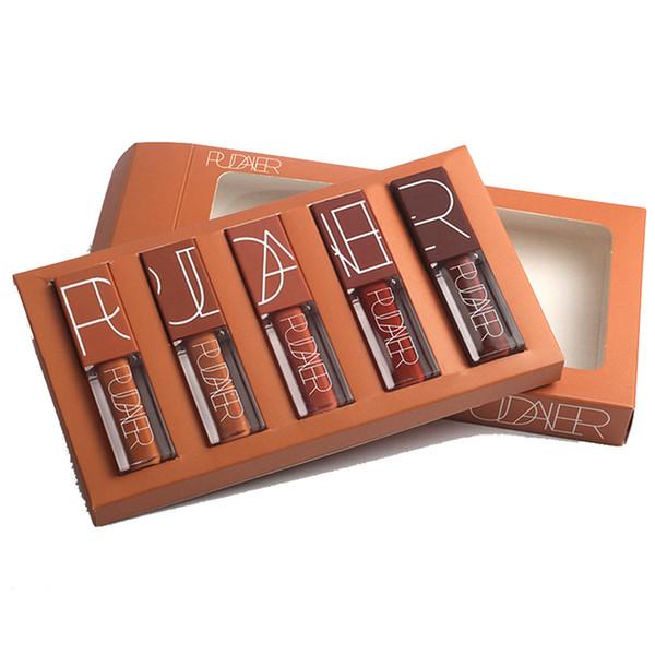 Wholesale-5pcs/set Pudaier makeup velvet matte lip gloss waterproof long lasting batom nude liquid lipstick sexy red lip tattoo HF013