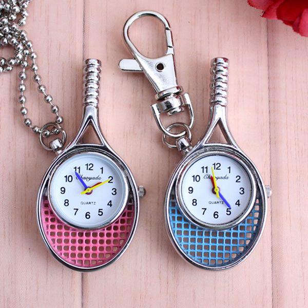 Chaoyada Nueva moda raqueta de tenis Relojes de bolsillo de reloj de bolsillo de relojes de cuarzo de la vendimia creativa