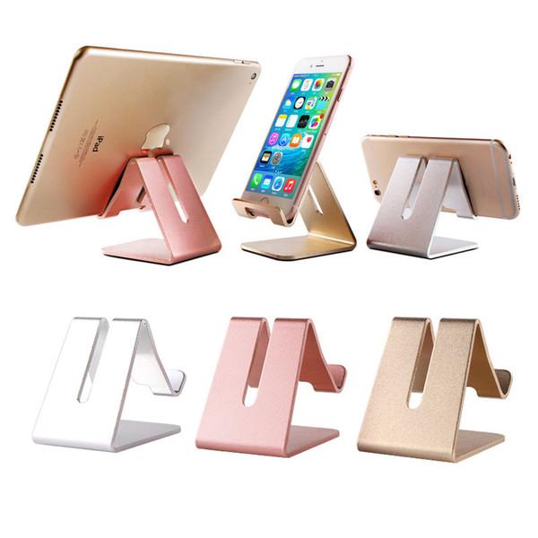 Soporte para teléfono de escritorio soporte perezoso Soporte universal para escritorio de metal de aluminio Soporte para teléfono celular antideslizante Soporte recargable para tableta iPhone con caja