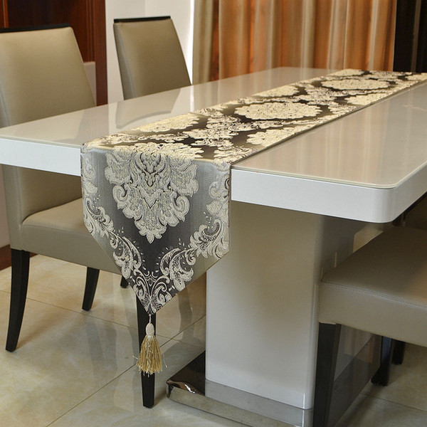 top popular Modern Luxury European Minimalist Jacqurard Table Runner for Coffee Table Placemat Decoration Table Cloth 32 cm x 210 cm 2019