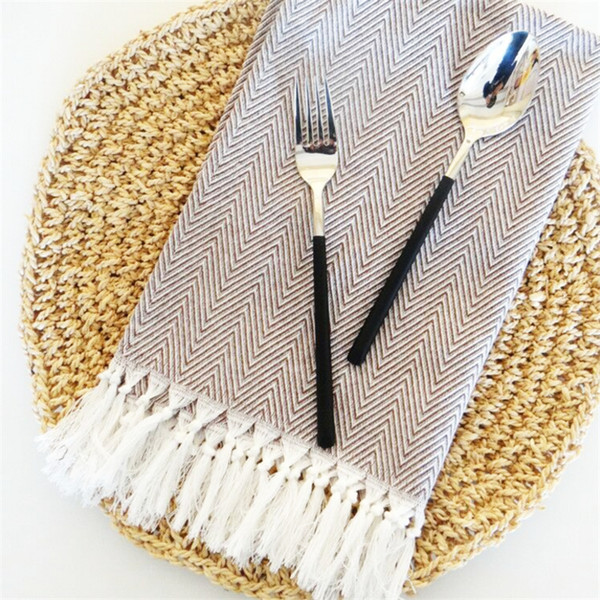 best selling 2pcs nordic cloth table mat western table mat tassel napkin water absorbent home hotel table cloth