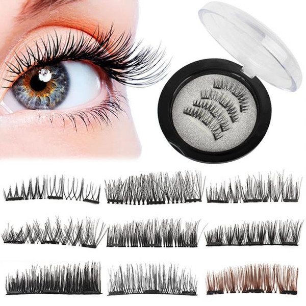 Natural 3D Triple Mink Magnetic False Eyelashes Handmade Glue-Free Magnet Eye Lashes Extension Make up Tools