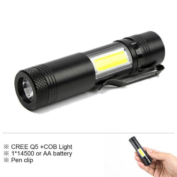 Mini Portable Led Flashlight CREE Q5 COB Work Light Waterproof Lamp Linterna Rechargeable Lanterna Working by 14500 or AA Battery
