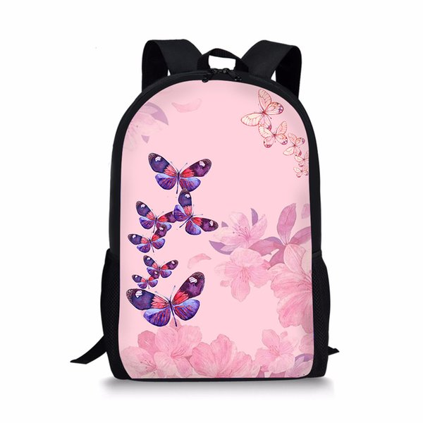 Cute Pink Butterfly Cute School Bag For Girls Kids Back Pack 3d Printing Toddler Backpack Girl Children Schoolbags Book Bags