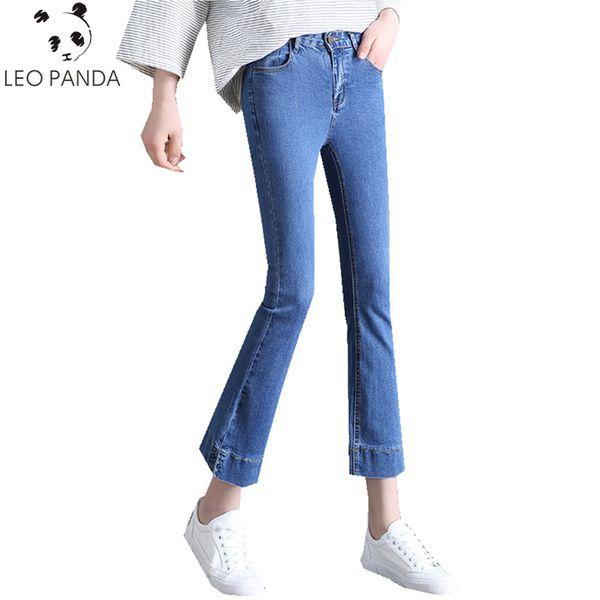 Mujeres del otoño de la primavera nueva alta cremallera Fly pantalones hasta la tobillera pantalones acampanados Jeans femeninos ocasionales delgados Fshion Jeans cómodos ZX1003