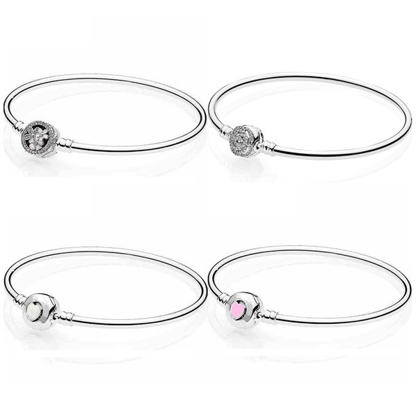 Belle's Enchanted Rose Poetic Bs Love Heart Clasp Bangle Fit Snake Bracelet 925 Sterling Silver Bead Charm Jewelry