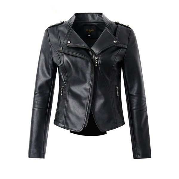 Casual PU Jacket Women Classic Zipper Short Motorcycle Jackets Lady Autumn Soft Leather Basic Coat Black