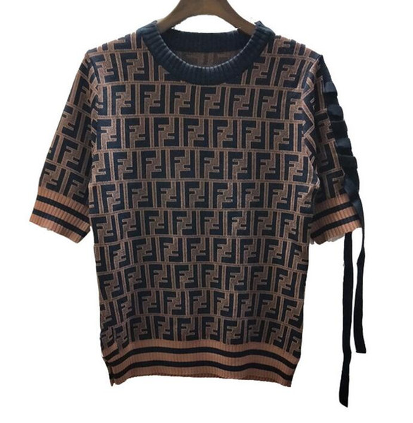 wholesale Hign-End Occident style runway hot fashion Crew neck Short sleeve Ribbon Print Letter Women's Knits