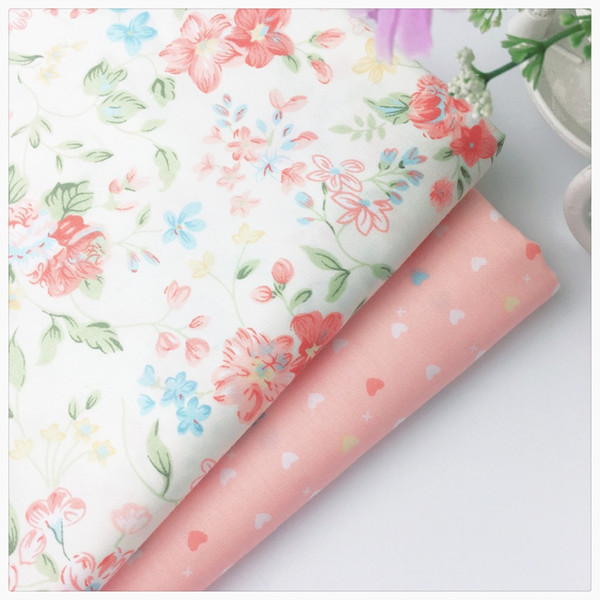 Pink Floral Heart Diy cotton fabric for dress baby bedding textile cloth sewing patchwork quilting tissue meter tecido