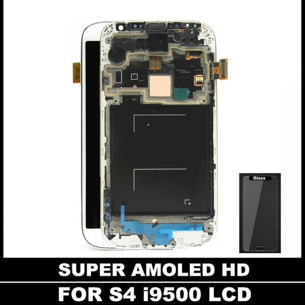 For Galaxy S4 i9500 Mobile LCD 100% Super AMOLED LCDS Display Touch Screen Frame Digitizer Assembly tempered glass