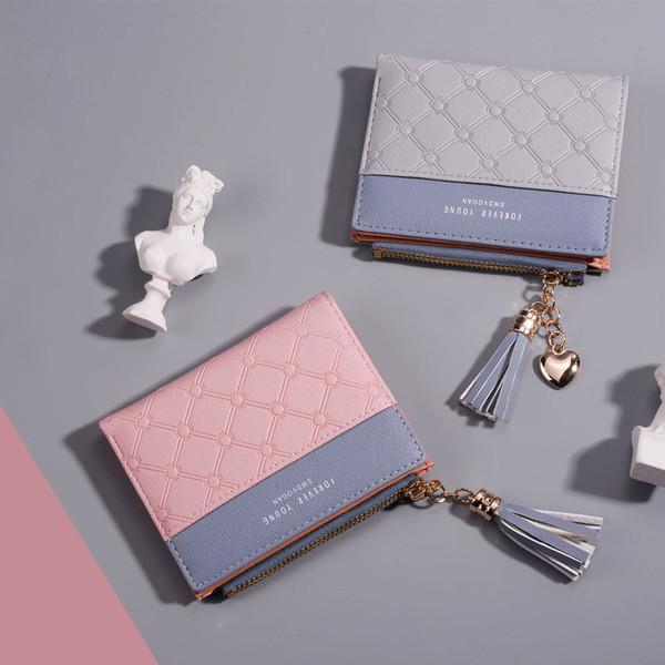 MM FOND pu leather tassel design women mini size wallet good quality good touching girl fashion money clip big volume wallet