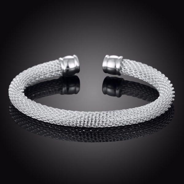 Braided Silver 925 Bracelets for Women Man Mesh Wide Bracelet Bangle Link Chain Wristband Brand Jewelry Bijoux Punk Jewelry