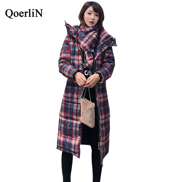 wholesale Hoodies Checked Warm Parkas Women Winter Long Coat with Scarf Vintage Hooded Long Sleeve Thickening Cotton Parka Female
