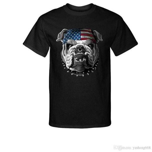 T Shirt Novelty Tops Regular Bulldog With American Flag Bandana T-Shirt Men Short O-Neck Tee Shirt