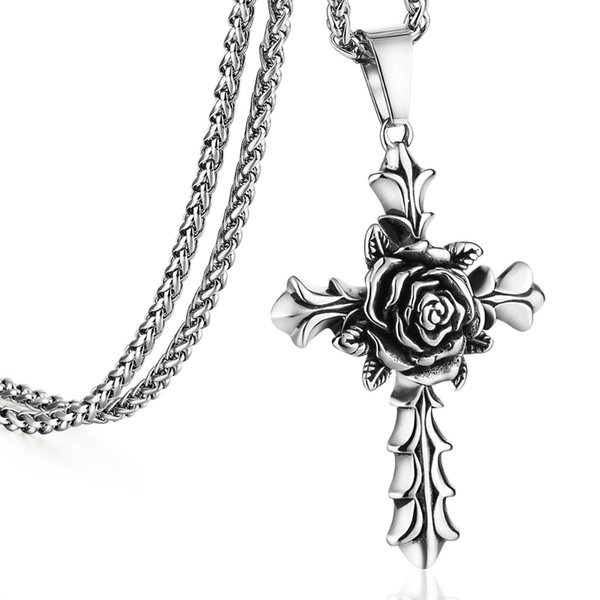 Awesome Flower Cross Pendant Stainless Steel Long Link Chain Statement Necklaces for Male Female Retro Jewelry Lovers Gift FC121