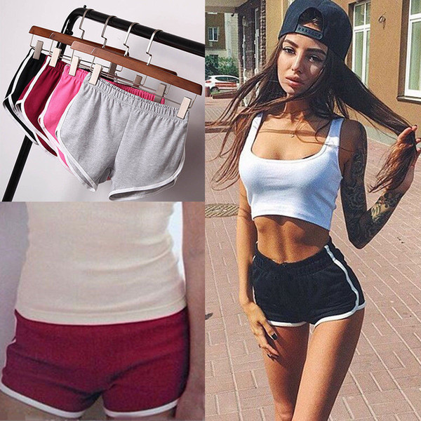 Women Fitness Sports Running Shorts Female Loose Striped Pure Cotton Gym Sweatpants Workout clothes Yoga Shorts
