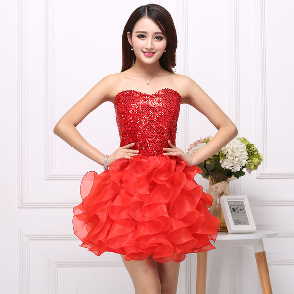 Bridesmaid Dress Ruffle Damigella d'onore Fashion Womens Paillettes e Heart Ruffle Dress Hot Womens Sexy Net Filato e Slim Bubble Skirt