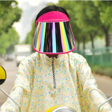 top popular PVC Sunscreen Cap Cycling Visors For Car Anti UV Light Cap PC Sun Hat Colorful Board To Ride Sun Visors Sports Sun Hats 20 pcs 2020