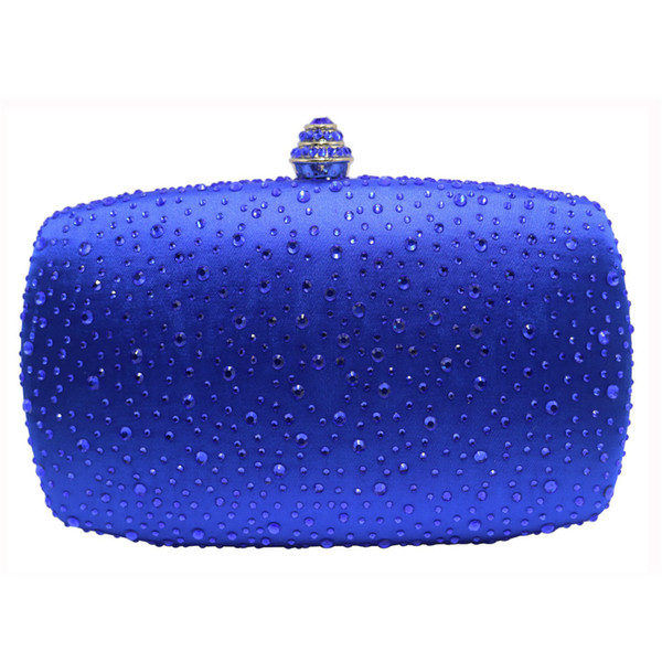 New Women Royal Blue Hard Box Clutch Evening Bags with Sparkle Crystal Diamonds for Ladies Hard Clutches Box Crystal Evening Bag Y18103004