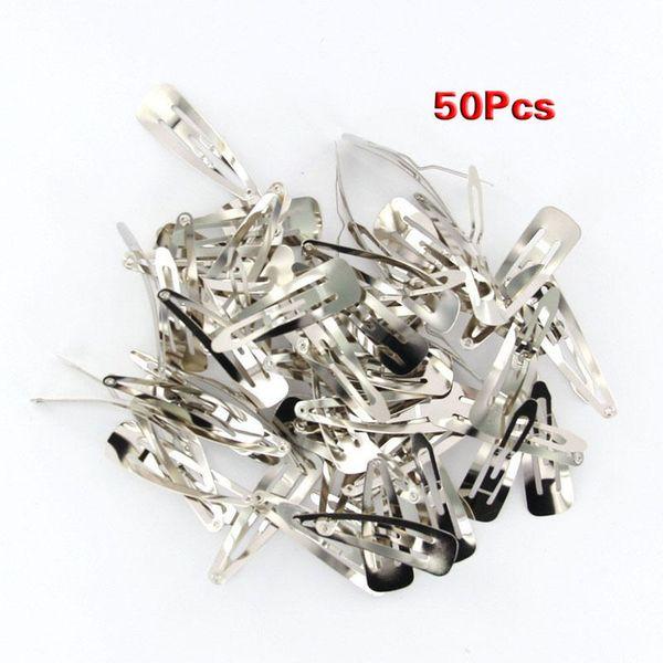 50 unids Silver Tone Snap Clips para el cabello pasadores 50 mm Craft Bow-Nickel Plated Hairgrips Headwear Barrettes ornamento de la baratija accesorios