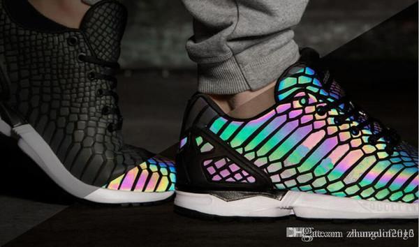 2018 ZX Flux Xenopeltis Snake Reflective,Xenopeltis Snake RUN Shoes Sports Running Rainbow Glowing Shoes Size 36 44 Running Shoes Women Running Shoes