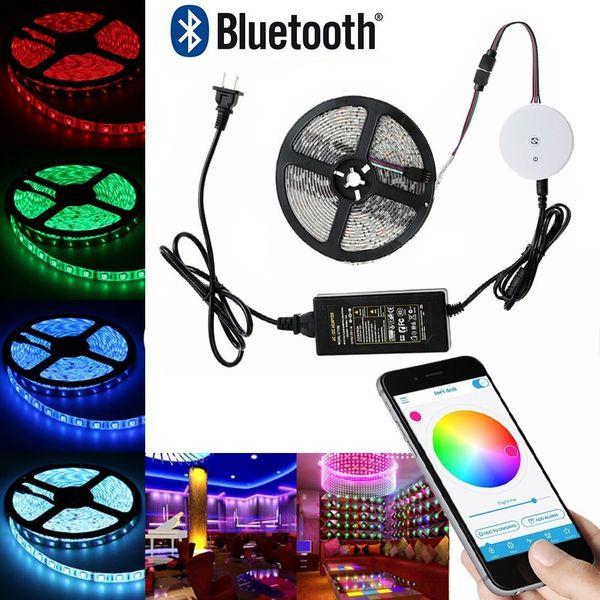 Tira CONDUZIDA Bluetooth 16.4ft / 5 M Multi Cores RGB Smartphone App Controlado Kit de Luz de Tira para iOS / Android