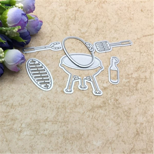 1Set DIY Metal Cutting Dies & Clear Rubber Stamp Set BBQ Kitchen Tool Stamp with Dies for Card Making Scrapbooking Decor